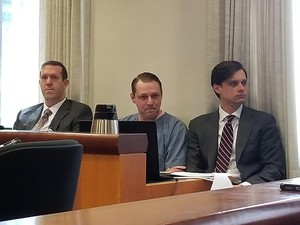 Russell Courtier awaits sentencing on April 16, 2019, at the Multnomah County Courthouse in Portland, Ore., for the 2016 murder of Larnell Bruce Jr.