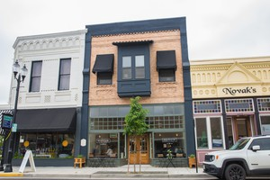 A building in downtown Albany, Ore., makes use of upper floor housing.