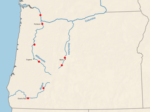 Locations where OPB sampled rivers for microplastics.