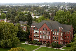 A view looking to Willamette University from the top of the Oregon State Capitol in Salem in September 2018.