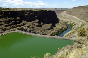 Round Butte Dam holds back the waters of the Deschutes River to form Lake Billy Chinook near Madras, Ore.
