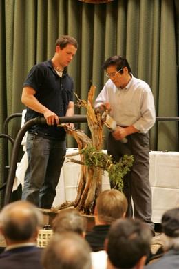 "Neil with his teacher, famed Japanese bonsai master Masahiko Kimura. He was known as the ""Magical Technician of Kindai Shuppan."""
