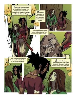 """Page from """"The Golden Trumpet Tree."""" Art and color by Kelly McClellan."""