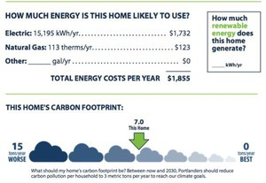 Excerpt from a home energy score report on the carbon footprint of a home.