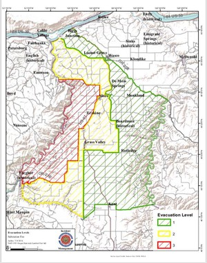 Spokane Wildfire Map.Fire Near The Dalles Oregon Grows Evacuation Orders In Place