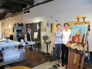 Lisa (left) and Lori Lubbesmeyer (right) at their studio in Bend.