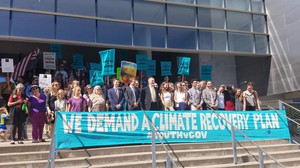 Members of the youth coalition suing the federal government over its climate change policy stand in front of a federal courthouse in Eugene, Oregon, in this file photo.