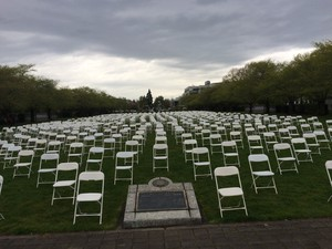 The 762 chairs set up on the Capitol Mall Wednesday represented the number of Oregonians who died by suicide in 2015.