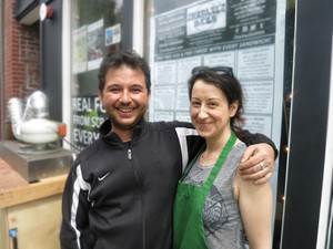 Charlie Mattouk and his wife outside Charlie's Deli, their business in Old Town Chinatown.