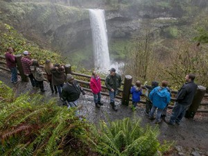 "Visitors hike the South Falls trail on 'Green Friday,"" Nov. 25, 2016, at Silver Falls State Park."