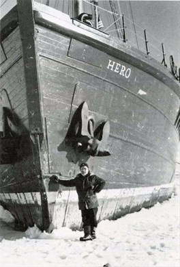 Hero Captain Pieter Lenie poses with the boat in particularly icy conditions in December 1977.