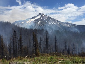 The Whitewater Fire in the Mount Jefferson Wilderness Area continued to grow in size since this photograph was taken on July 26, 2017.