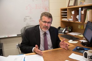 NORCOR jail administrator Bryan Brandenburg in his office.