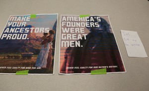 """A recent round of posters reading """"It's OK To Be White"""" were posted around Clark College, a community college in Vancouver, Washington."""