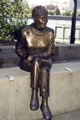 """Vera Katz"", 2006, Bronze, 53"" x 18"" by 18"" on Portland's Eastbank Esplanade."
