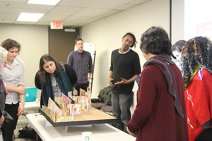 Muralists Zack Yarrington and Mehran Heard (who signs murals as Eatcho) present a concept design to Trimet's advisory committee for the Hollywood Transit Center Tribute.