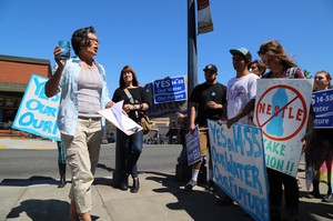 Opponents of the Nestle water bottling plant in Cascade Locks rally in support of a ballot measure that banned commercial water bottling in Hood River County.