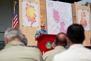 The Douglas Complex Fire is almost 33,ooo acres and one of the largest moving across Southern Oregon.  Gov. John Kitzhaber thanked those those participating in combating the fire.