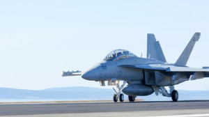 An EA-18G Growler jet at Naval Air Station Whidbey Island in Washington.