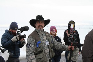 Pete Santilli, an Internet radio host and strong advocate of the armed occupation near Burns, Oregon, led a demonstration outside the FBI's makeshift headquarters there.