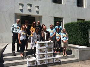 Supporters of the initiative petition to fund Outdoor School programs statewide submitted signatures June 30, 2016 in Salem.