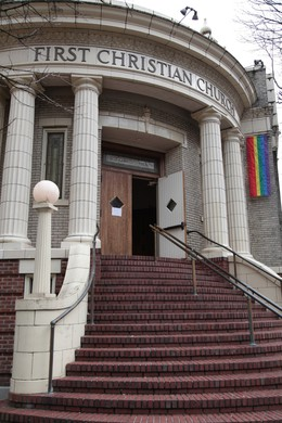 The historic front entrance of the First Christian Church in downtown Portland.