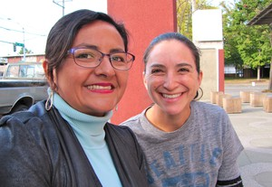 """""""To me it's a step backwards,"""" said Rebecca Saldaña (right), executive director of Puget Sound Sage. She and Paulina Lopez, Duwamish River Cleanup Coalition, said will vote 'no"""" on I-732 in November."""