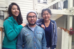 Ashley, 18, left, Brian, 21, and Karleen Tapia pose for a photo outside their home in Bend. Their single mother was deported to Mexico in September 2011.