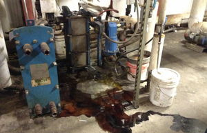 This photo obtained by the Columbia Riverkeeper through a records request to the U.S. Environmental Protection agency shows a leak inside the TransMessis Columbia Plateau biofuels facility in Odessa, Washington.