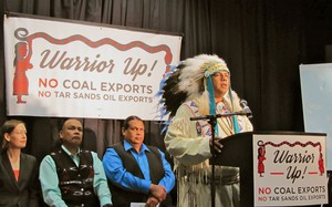 JoDe Goudy, chairman of the Yakama Nation, calls on the Federal Government to deny permits for the Gateway Pacific Coal Terminal at a gathering of tribal leaders from around the Northwest, British Columbia and Montana.