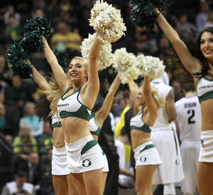 The University of Oregon cheerleaders at a UO basketball game, 2015.
