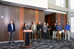 Multnomah County Chair Deborah Kafoury speaks at a press conference announcing the county's severe winter weather plan.
