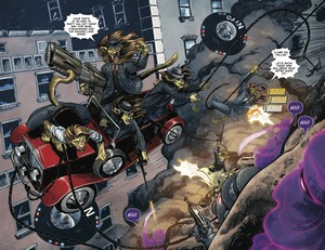 """A vivid two-page spread from """"Shutter,"""" vol. 1, by Joe Keatinge and Leila Del Duca."""