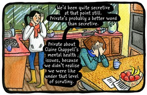 "A panel from ""Reported Missing"", by Eleri Harris."