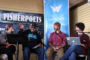 From left to right, Alana Kansaku-Sarmiento, Lloyd Montgomery, and Corey Arnold share fishing tales with host April Baer onstage at the FisherPoets Gathering.