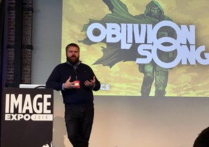 "Robert Kirkman describes his newest comic, ""Oblivion Song"" — about an alternate dimension full of monsters that trades places with Philadelphia — at the Image Expo in Portland."