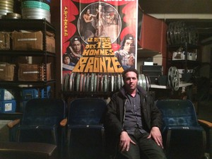 Hollywood Theatre programming director Dan Halsted in the basement's film archives.