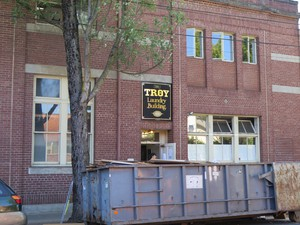 Artists took what they could and dumped the rest in containers during summer 2016 as the Troy Laundry building was emptied, and prepared for sale.