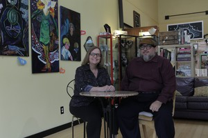 Toni Partington (left) and Christopher Luna (right), the husband-and-wife team that organizers Vancouver's Ghost Town poetry open mic.