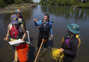 Celeste Searles Mazzacano (center) discusses the size of mussels she found in the Willamette River with her team members in July.