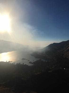 Smoke from a fire near Memaloose State Park fills the Columbia River Gorge.