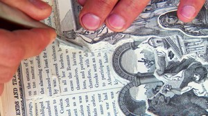 Allen's careful carving of a discarded vintage book
