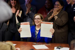 Oregon Gov. Kate Brown signs two addiction-related bills and an executive order declaring addiction and substance abuse a public health crisis.