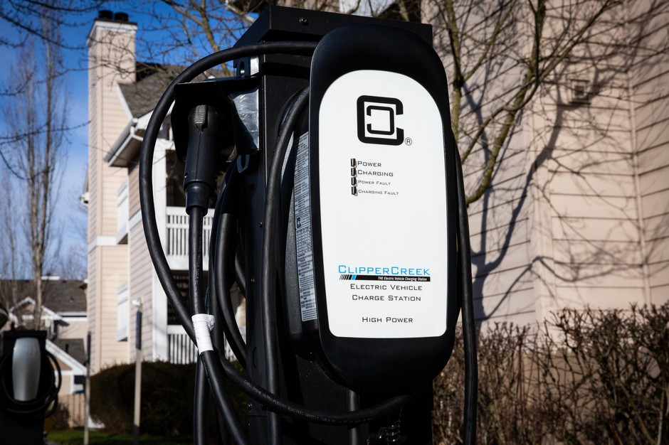 Electric car charging stations are seen at the Residence Inn by Marriott in Northeast Portland on Thursday, Feb. 28, 2019.