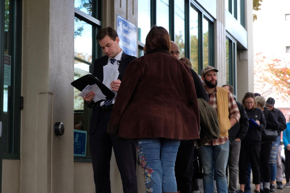 Oregon voters drop off ballots on Election Day, Tuesday, Nov. 6, 2018 in Portland, Oregon.