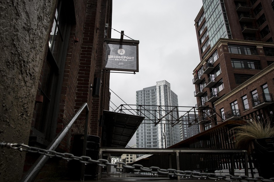 BridgePort Brewing Company's Pearl District brewpub is pictured Tuesday, Feb. 12, 2019, in Portland, Ore. BridgePort is the latest in a string of historic Portland breweries to close.
