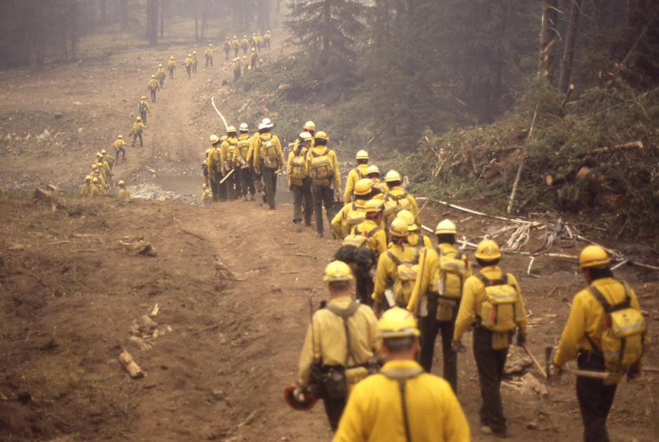 A line of wildland firefighters marches through the woods during the Yellowstone fires of 1988. The massive complex of fires, which burned more than 790,000 acres, was a transformative moment in the country's view of wildfire.