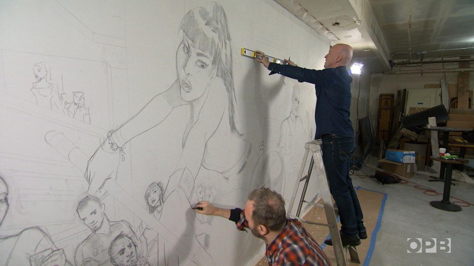 Jacob and Arnold Pander work on their mural, which will hang in the historic Rialto poolhall.
