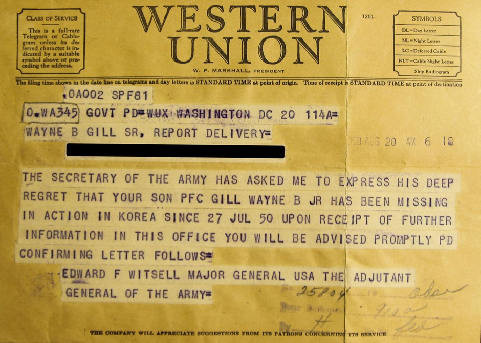 Telegram notifyingCorporal Gill's parentsthat he was Missing In Action.