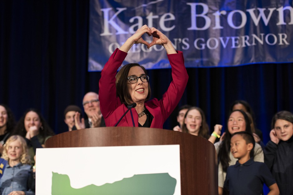 Gov. Kate Brown celebrates her Election Night victory at the Democratic Party of Oregon 2018 election party on Nov. 6, 2018 in Portland, Oregon.